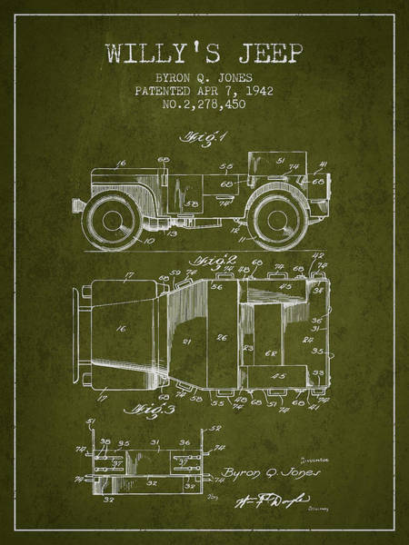 Jeep Wall Art - Digital Art - Vintage Willys Jeep Patent From 1942 by Aged Pixel