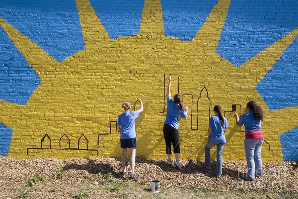 Photograph - Volunteer Painters by Jim West
