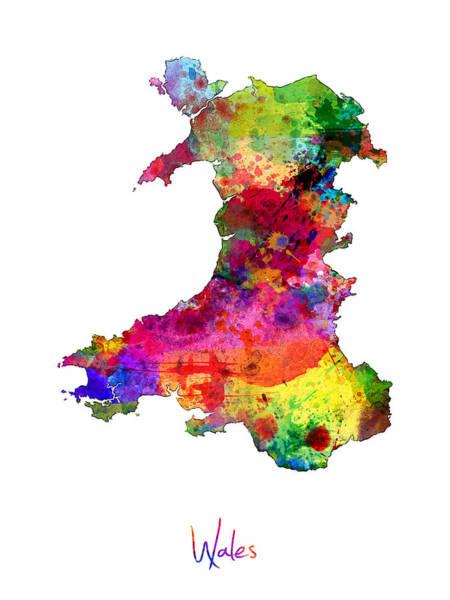 Wales Wall Art - Digital Art - Wales Watercolor Map by Michael Tompsett