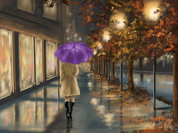 Night Walk Painting - Walking by Veronica Minozzi