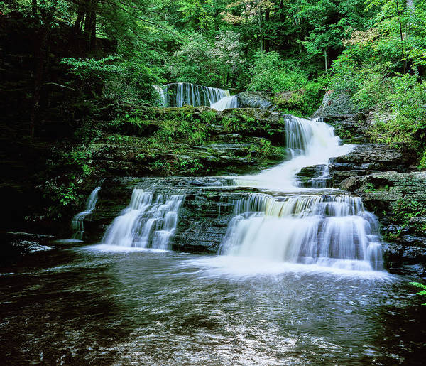 Delaware State Park Wall Art - Photograph - Water Falling From Rocks, Dingmans by Panoramic Images