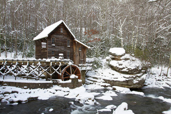 Babcock Photograph - Watermill In A Forest In Winter, Glade by Panoramic Images