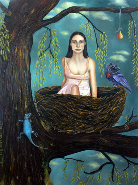 Crows Nest Wall Art - Painting - Weeping Willow by Leah Saulnier The Painting Maniac