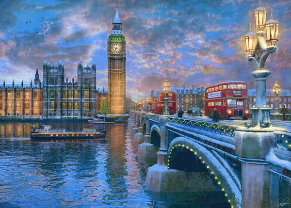 Wall Art - Painting - Westminster Christmas by MGL Meiklejohn Graphics Licensing