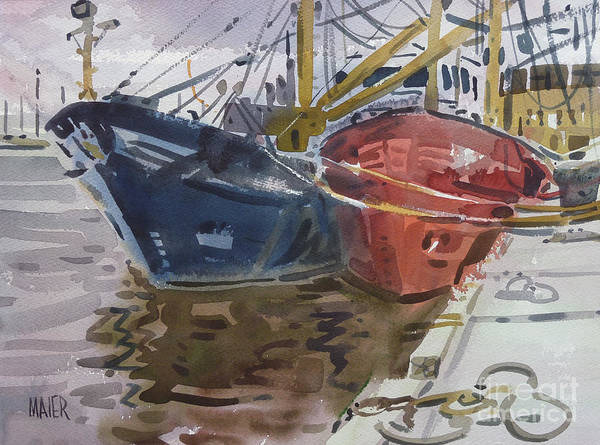 Fishing Boat Painting - Wexford Fishing Boats by Donald Maier