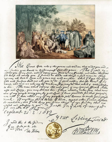Cursive Photograph - William Penns Treaty With The Indians by Science Source