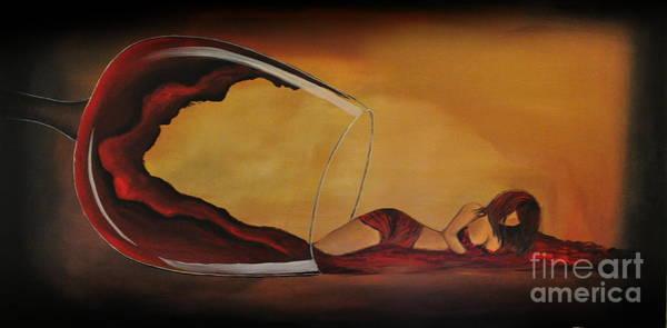 Wine-spilled Woman Art Print