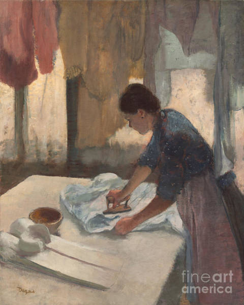 Linen Wall Art - Painting - Woman Ironing by Edgar Degas
