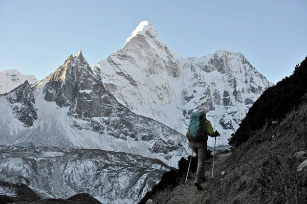 Wall Art - Photograph - Woman Trekker In The Khumbu Region by HagePhoto