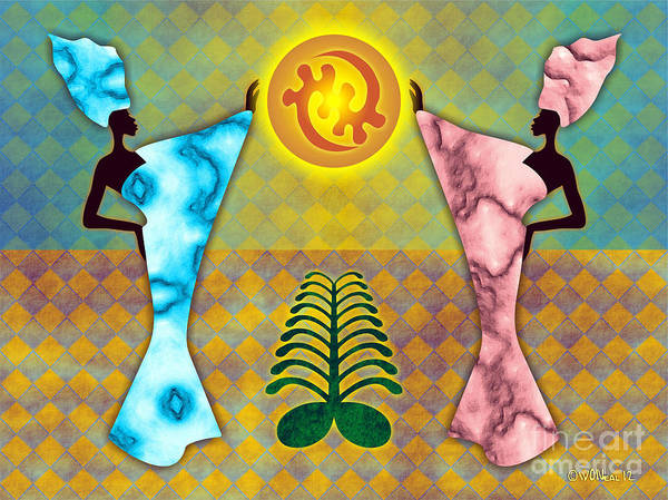 Digital Art - 2 Women And The Sun - V. 2 by Walter Neal