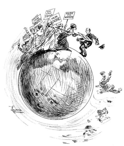 Political Cartoon Painting - Women's Suffrage Cartoon by Granger
