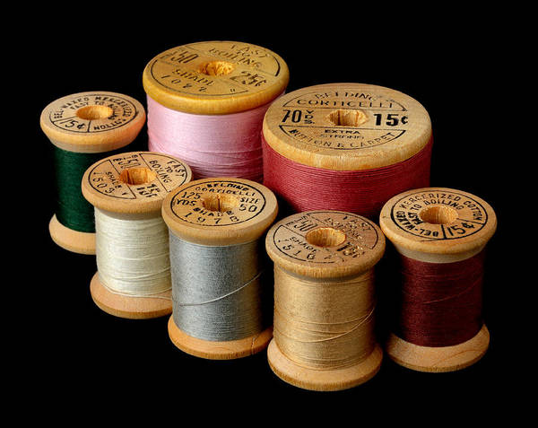 Photograph - Wooden Spools by Jim Hughes