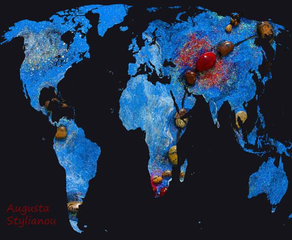 Digital Art - World Map And Scorpio Constellation by Augusta Stylianou