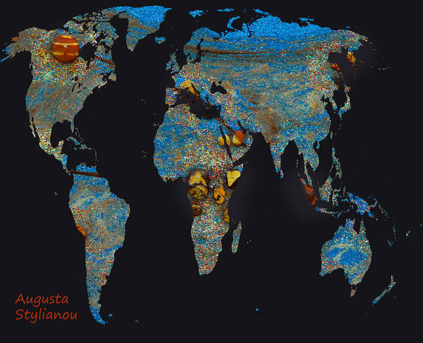 Digital Art - World Map And Taurus Constellation by Augusta Stylianou