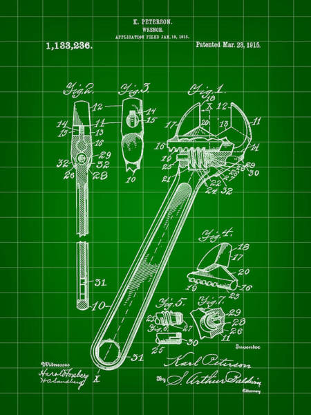 Adjustable Wrench Wall Art - Digital Art - Wrench Patent 1915 - Green by Stephen Younts