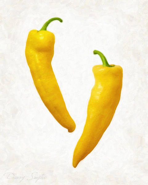 Wall Art - Painting - Yellow Hot Peppers  by Danny Smythe