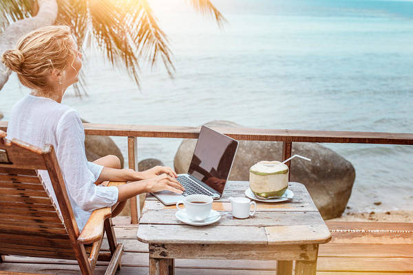 Young Woman Working On Laptop With Coffee And Young Coconut Art Print by Jasmina007