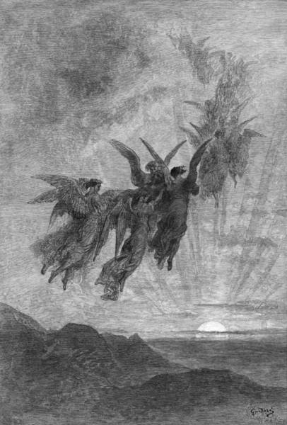 Wall Art - Drawing - The Raven by Gustave Dore