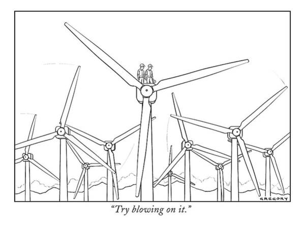 Energy Drawing - Try Blowing On It by Alex Gregory