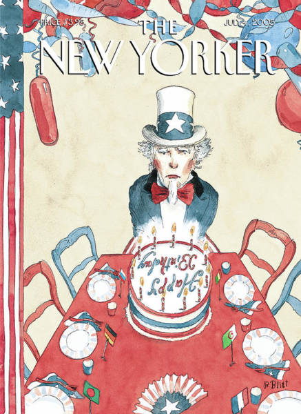 Table Painting - New Yorker July 4th, 2005 by Barry Blitt