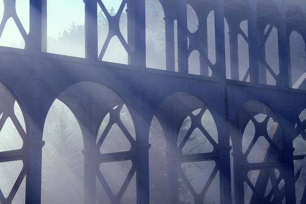 Heceta Head Lighthouse Photograph - 2000s Cape Creek Bridge Fog Heceta Head by Vintage Images