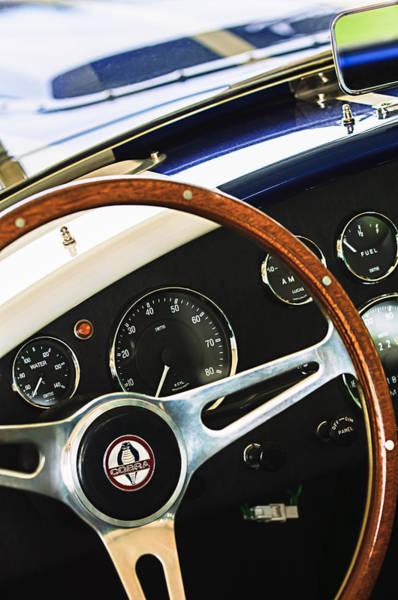 Photograph - 2001 Shelby Cobra Replica Steering Wheel Emblem by Jill Reger