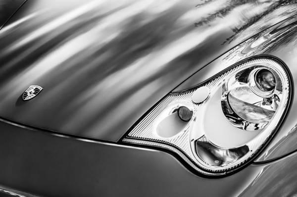 Cabriolet Photograph - 2002 Porsche 911 Cabriolet Hood Emblem -0352bw by Jill Reger