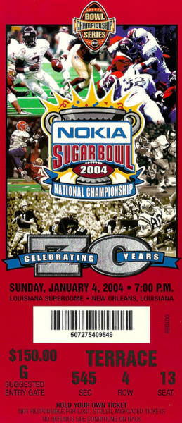 Photograph - 2004 National Championship Ticket - Lsu Vs Oklahoma by David Patterson