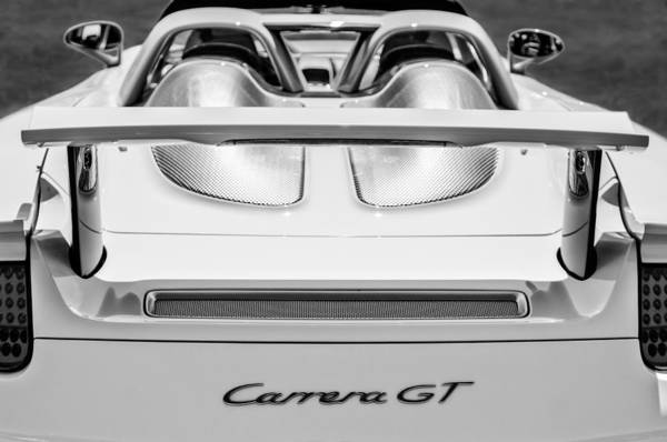 Photograph - 2004 Porsche Carrera Gt Rear Emblem - 0064bw by Jill Reger