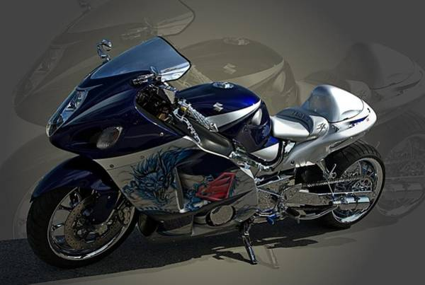 Photograph - 2004 Suzuki Hayabusa Gsx 1300 With Nos Custom Motorcycle by Tim McCullough