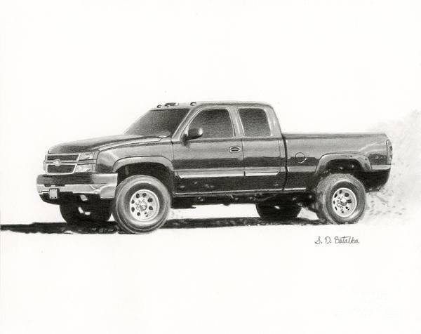 Hand Drawn Drawing - 2006 Chevy Silverado 2500 Hd by Sarah Batalka