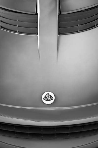 Photograph - 2006 Lotus Grille Emblem -000bw by Jill Reger