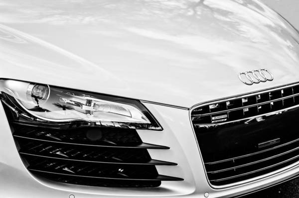 Photograph - 2008 Audi Hood Emblem -0440bw by Jill Reger