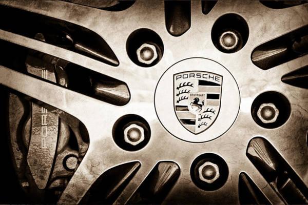 Cabriolet Photograph - 2008 Porsche Turbo Cabriolet Wheel Rim Emblem by Jill Reger