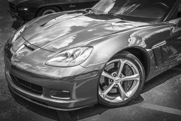 Mag Wheels Wall Art - Photograph - 2010 Chevy Corvette Grand Sport Bw by Rich Franco