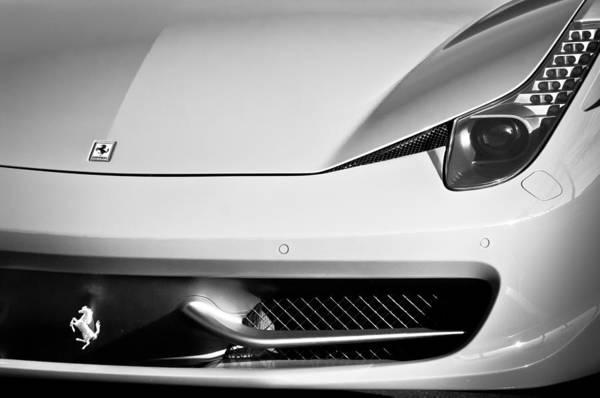 Photograph - 2010 Ferrari Grille Emblem -0468bw by Jill Reger