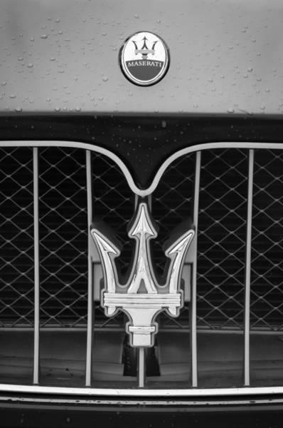 Photograph - 2010 Maserati Grille Emblem -0556bw by Jill Reger