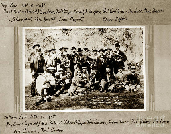 Photograph - 2011-007-0003 Twenty One Members Of Cambria Brass Band On Columbus Day 1892 by California Views Archives Mr Pat Hathaway Archives