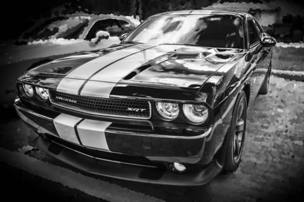 V8 Engine Photograph - 2011 Dodge Challenger Srt Bw by Rich Franco