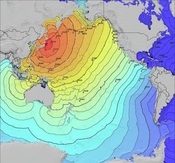 Contour Map Photograph - 2011 Tsunami Travel Times by Noaa/science Photo Library