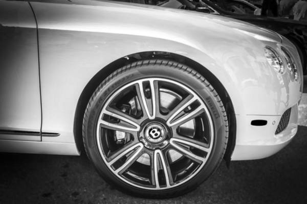 Mag Wheels Wall Art - Photograph - 2012 Bentley Continental Gtc V8 Bw by Rich Franco