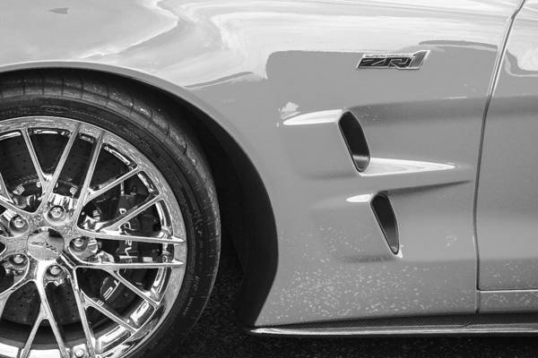 Mag Wheels Wall Art - Photograph - 2013 Chevy Corvette Zr1 Bw by Rich Franco