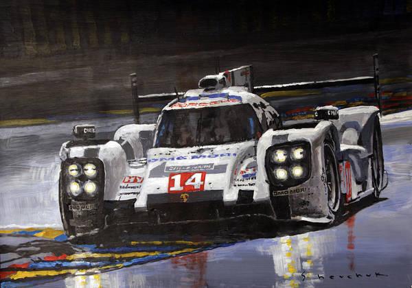 Racing Car Wall Art - Painting - 2014 Le Mans 24 Porsche 919 Hybrid  by Yuriy Shevchuk