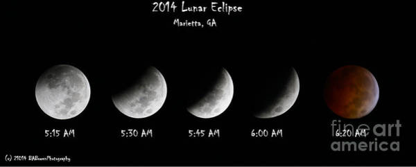 Photograph - 2014 Lunar Eclipse by Barbara Bowen