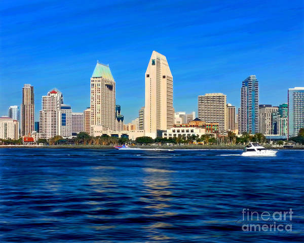 Mixed Media - 2014 San Diego Skyline by Glenn McNary