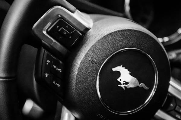 Photograph - 2015 Ford Mustang Steering Wheel Emblem -0259bw by Jill Reger