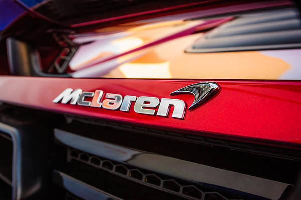 Photograph - 2015 Mclaren 650s Spider Rear Emblem -0028c by Jill Reger