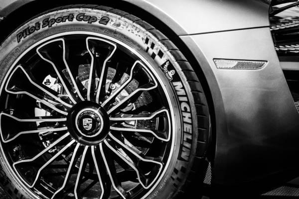 Photograph - 2015 Porsche 918 Spyder Hybrid Wheel -0130bw by Jill Reger