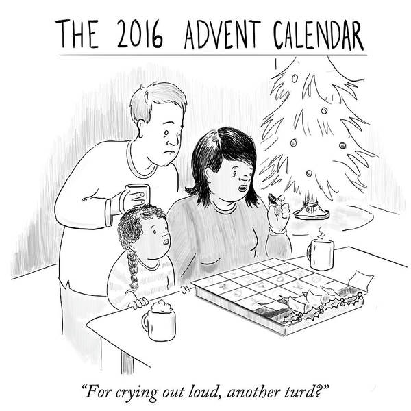 Christmas Tree Drawing - 2016 Advent Calendar by Emily Flake