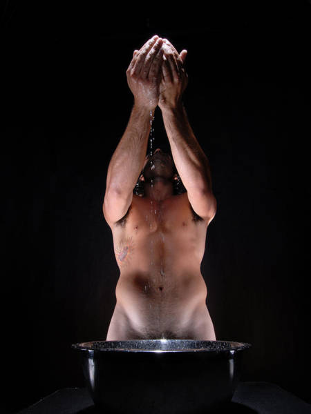 Photograph - 2048 Powerful Male Nude Purfication Ritual  by Chris Maher